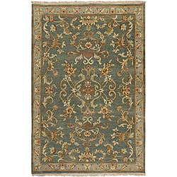 Hand-knotted Legacy Green New Zealand Wool Rug (5'6 x 8'6)
