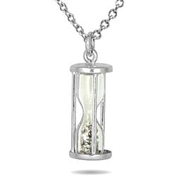 Sterling Silver 'Time in a Bottle' 1/2ct TDW Diamond Dust Necklace