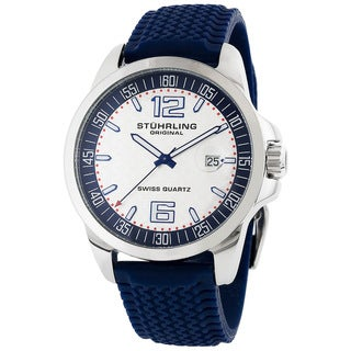 Stuhrling Original Men's Monterey Blue Rubber Strap Sports Watch