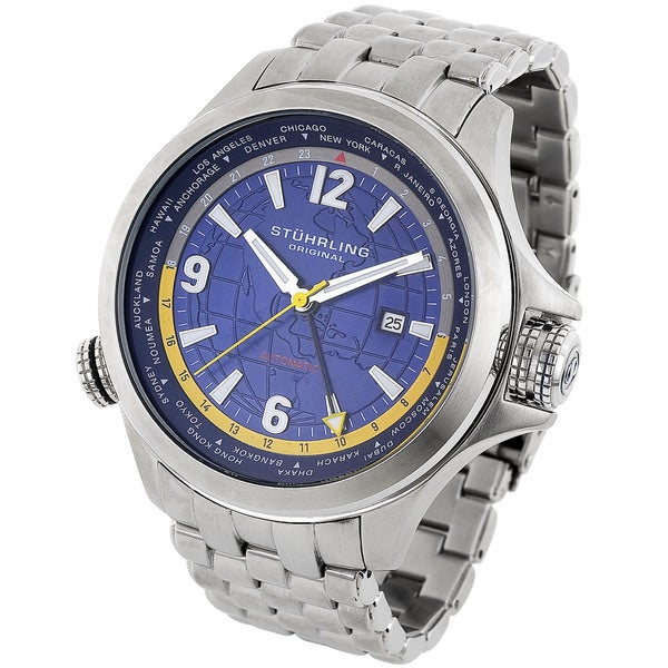Stuhrling Original Men's Now Voyager World Timer Watch
