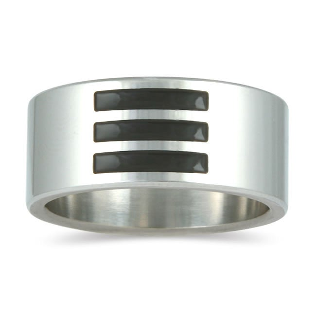 Stainless Steel Men's Black Enamel Inlay Band (10 mm)