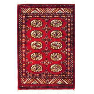 Pakistani Hand-knotted Red/ Ivory Bokhara Wool Rug (2&#39; x 3&#39;)