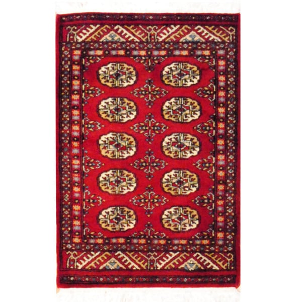 Pakistan Bokhara Rugs In Red: Herat Oriental Pakistan Hand-knotted Bokhara Red/ Ivory