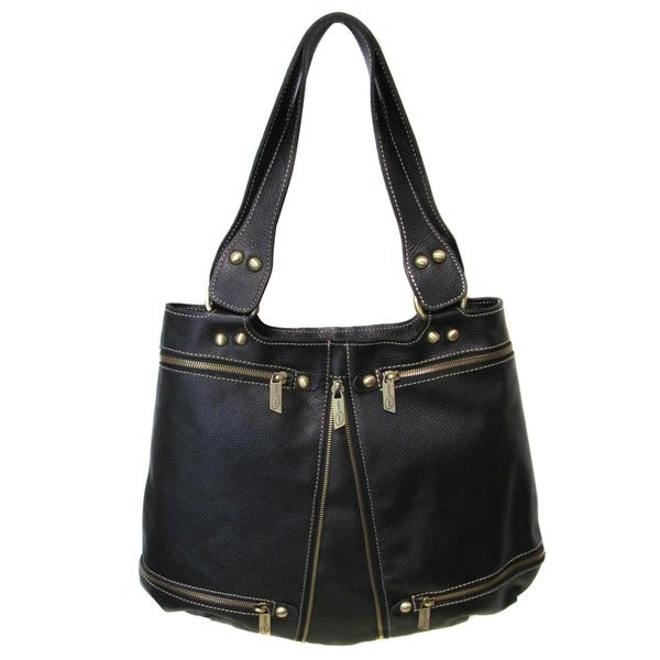 Amerileather Rila Zip Leather Shoulder Bag