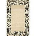 Hand-tufted Seville Zebra Border Beige Wool Rug (8' x 10')