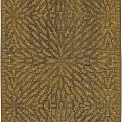 Hand-tufted Circle Leaves New Zealand Wool Rug (8' x11')