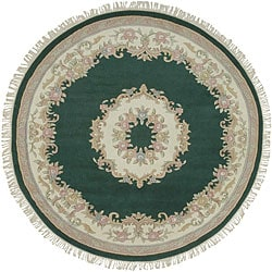 Hand-knotted New Zealand Wool Green Rug (8' Round)