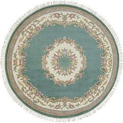 Hand-knotted Green New Zealand Wool Rug (8' Round)