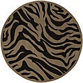 Hand-tufted Contemporary Brown Zebra Current New Zealand Wool Rug (7'9 Round)