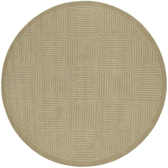 Hand-crafted Solid Beige Geometric Manhattan Wool Rug (7'9 Round)