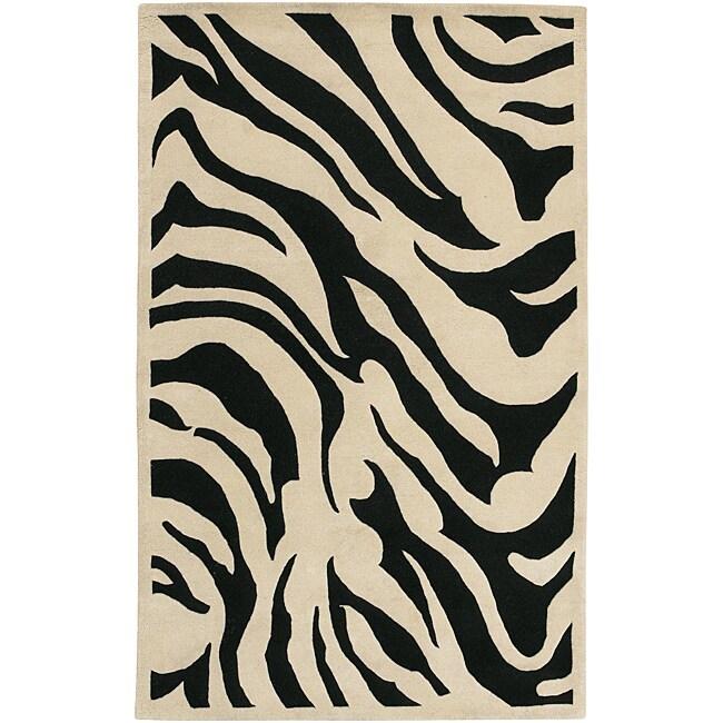 Hand-tufted Black/White Zebra Animal Print New Zealand Wool Rug (3'3 x 5'3)