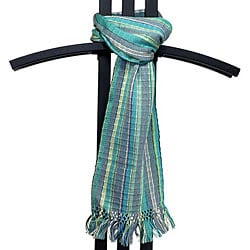 Backstrap Loom 'San Juan' Sea Foam Scarf (Guatemala)
