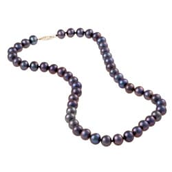 DaVonna 14k Gold Peacock Black FW Pearl 16-inch Necklace (8-9 mm)