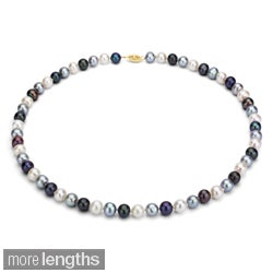DaVonna 14k 8-9mm Dark-Multi Freshwater Cultured Pearl Strand Necklace (16-36 inches)