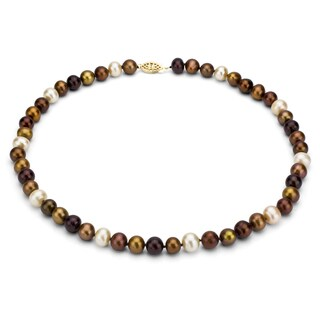 DaVonna 14k 8-9mm Chocolate-Multi Freshwater Cultured Pearl Strand Necklace (16-36 inches)