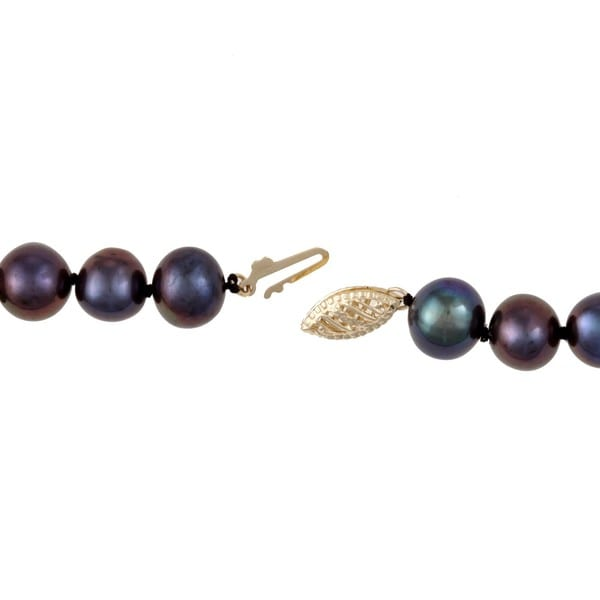 DaVonna 14k Gold Peacock Black FW Pearl 20-inch Necklace (8-9 mm)