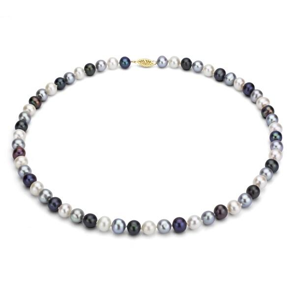 DaVonna 14k Gold Multi Dark FW Pearl 16-inch Necklace (9-10 mm)