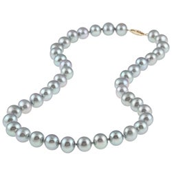DaVonna 14k Gold Grey FW Pearl 16-inch Necklace (9-10 mm)