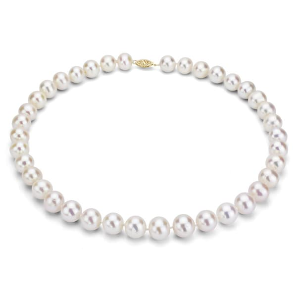 DaVonna 14k 9-10mm White Freshwater Cultured Pearl Strand Necklace (16-36 inches)
