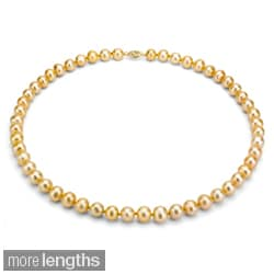 DaVonna 14k 9-10mm Gold Freshwater Cultured Pearl Strand Necklace (16-36 inches)