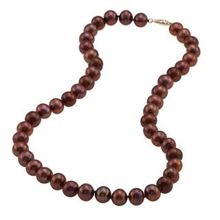 DaVonna 14k 9-10mm Chocolate Freshwater Cultured Pearl Strand Necklace (16-36 inches)