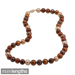 DaVonna 14k 9-10mm Chocolate-Multi Freshwater Cultured Pearl Strand Necklace (16-36 inches)