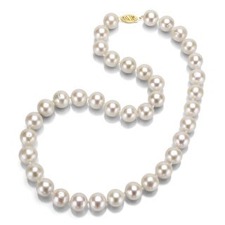 DaVonna 14k Gold White 9-10mm FW Pearl Necklace (20 in) with Gift Box