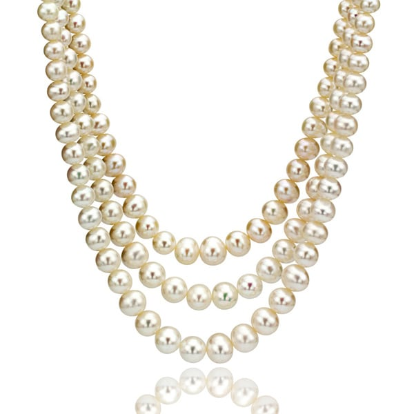 DaVonna Round White 10-11mm FW Pearl Endless Necklace with Gift Box