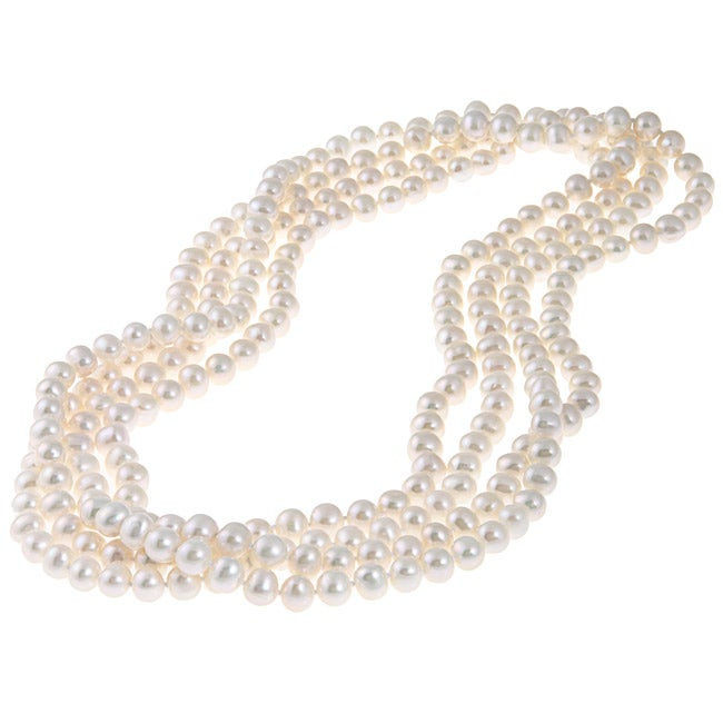 DaVonna White Freshwater Pearl 9-10mm Endless Necklace (48-100 inches)