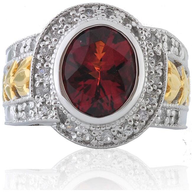 Michael Valitutti Silver/ 18k Vermeil Citrine and Sapphire Ring