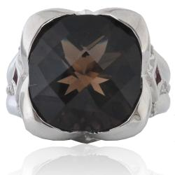 Michael Valitutti Palladium Silver Smokey Quartz and Sapphire Ring