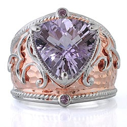 Michael Valitutti Sterling Silver Two-tone Amethyst Ring