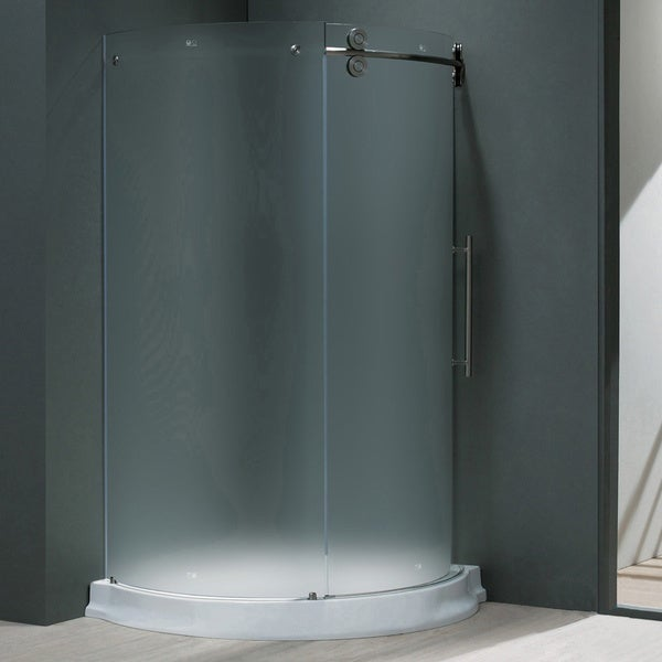 "VIGO 40 x 40 Frameless Round 5/16"" Frosted Shower Enclosure with Base"