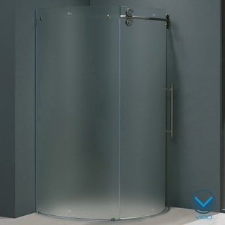 Vigo 40 x 40 Frameless Round Frosted Right-sided Shower Enclosure