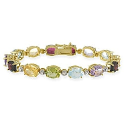 Glitzy Rocks 18k Gold over Silver 27.3 CTW Multi-gemstone and Diamond Accent Bracelet