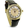 TechnoTime Women's 18k Goldplated Silver Case Watch