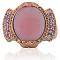 Michael Valitutti Silver Two-tone Mother of Pearl and Sapphire Ring