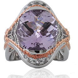 Michael Valitutti Sterling Silver Two-tone Amethyst and Sapphire Ring