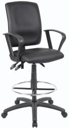 Boss LeatherPlus Multifunctional Drafting Stool with Arms