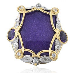 Michael Valitutti Two-tone Purple Jade and Amethyst Ring