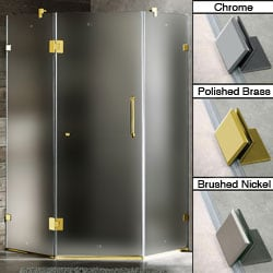 Vigo 36 x 36 Frameless Neo-angle Frosted/ Polished Brass Right Shower Enclosure