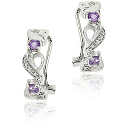 Glitzy Rocks Sterling Silver Amethyst and Diamond Accent Half-hoop Earrings
