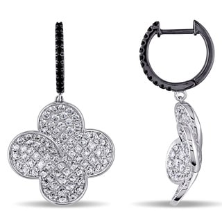Miadora Signature Collection 18k Gold 2ct TDW Black and White Diamond Earrings (G-H, SI1-SI2)