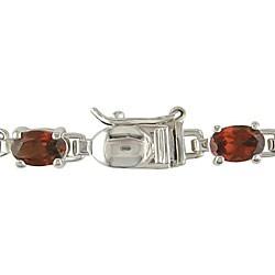 Sterling Silver Garnet Link Bracelet