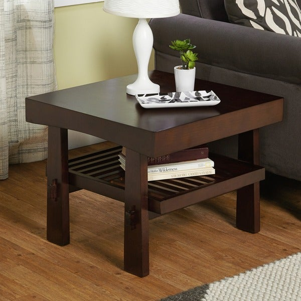 Japanese end table wood accent stand modern lamp furniture for Living room end table lamps
