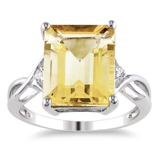 Miadora Sterling Silver Citrine and White Topaz Ring