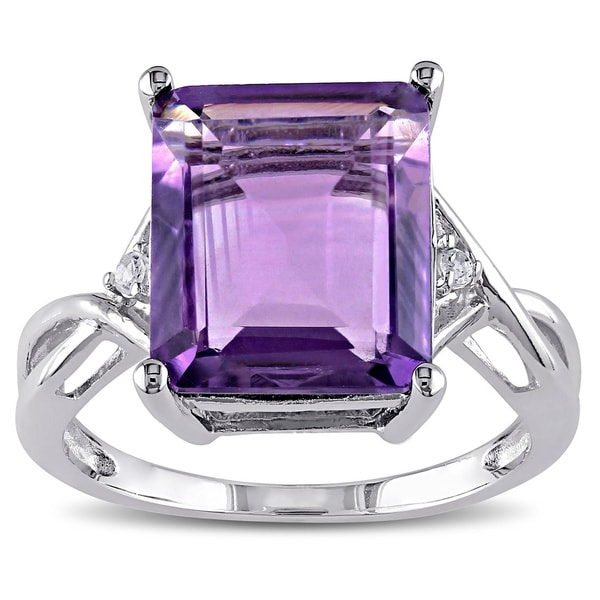 Miadora Sterling Silver Amethyst and White Topaz Ring