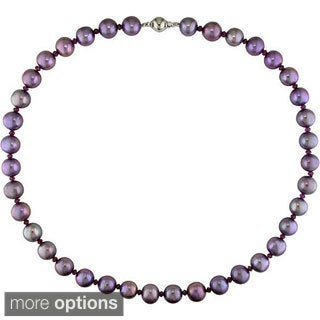 New York Pearls Silver Plum Pearl and Rhodolite Necklace (9-10 mm) with Bonus Earrings