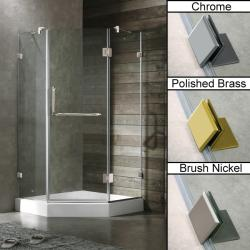 Vigo 38 x 38 Frameless Neo-angle Clear Shower Enclosure and White Base