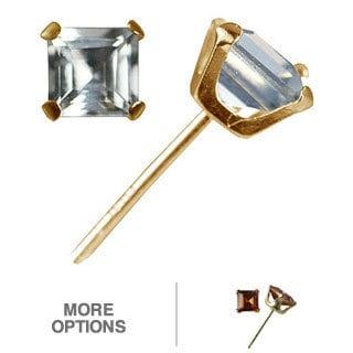 Gioelli 10k Yellow Gold Square-cut Gemstone Stud Earrings